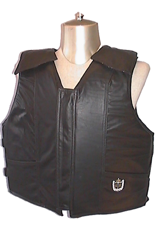 1200 Series Bull Riding Vest, Leather, Black